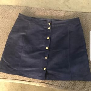 Old Navy Suede Button Up Navy Mini Skirt! Size 16